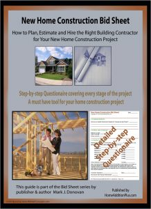New Home Construction Bid Sheet for comparing contractor bids