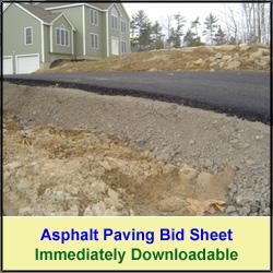 Asphalt Driveway Bid Sheet