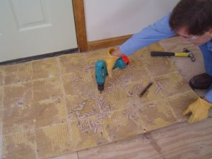 Removing cement backerboard