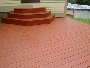 Solid deck stain applied to this deck.