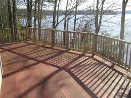 Here is a deck overlooking a very large pool!