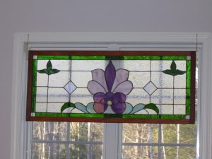 "Victorian Style Window With Floral Pattern and Framed in Mahogany Wood 19"" x 43"""