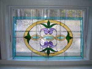 """Victorian Style Window Framed in Oak Wood 20"""" x 32"""""""