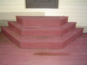 Building custom shaped deck stairs.