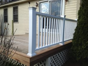 First side of composite deck railing installed.