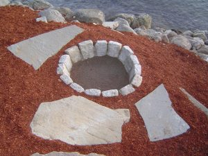 Here is another fire pit made out of granite blocks.