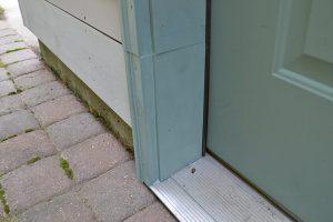 Repaired door frame.