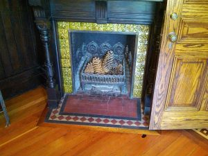 Fireplace hearth and mantel