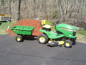 Here is my John Deere lawnmower and lawnmower utility cart.
