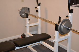 Workout bench in home gym.