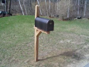 Newly installed mailbox post and mailbox.