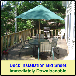 Deck Installation Bid Sheet