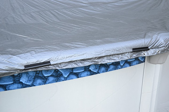 Pool cover clips hold a pool cover firmly, but will also pull off in the event the pool liner breaks, thus saving the pool from catastrophic damage.