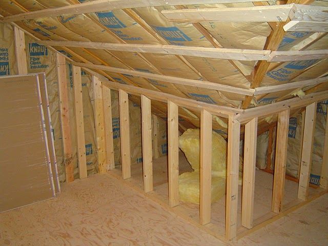 Knee walls are a common sight in a finished attic.